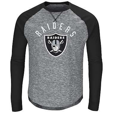 Majestic Oakland Raiders Corner Blitz Long Sleeve Raglan Tee, Large