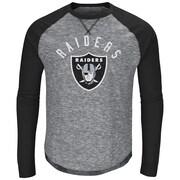 Majestic – T-shirt à manches longues raglan Corner Blitz des Raiders d'Oakland, grand