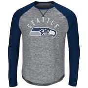 Majestic – T-shirt à manches longues raglan Corner Blitz des Seahawks de Seattle, très grand