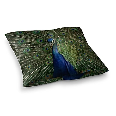 East Urban Home Proud Peacock Animals by Angie Turner Floor Pillow; 26'' x 26''