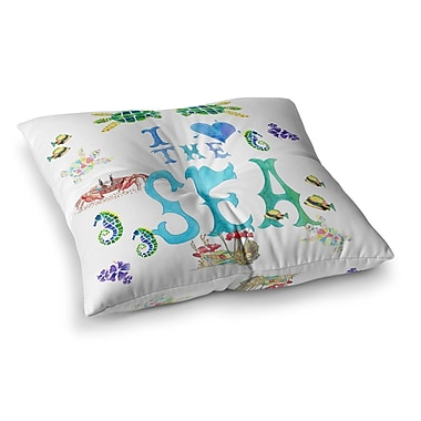 East Urban Home I Love the Sea Typography by Catherine Holcombe Floor Pillow; 26'' x 26''