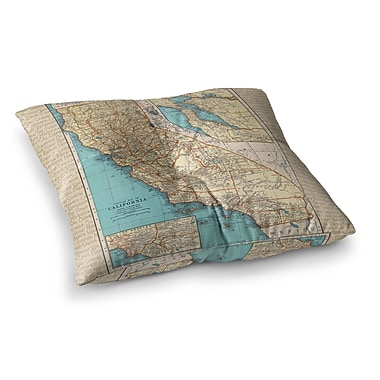 East Urban Home So Cal Surf Map by Catherine Holcombe Floor Pillow; 23'' x 23''