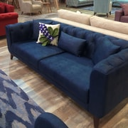 Brayden Studio Danos 3 Seater Nubuck Chesterfield Sofa; Navy Blue