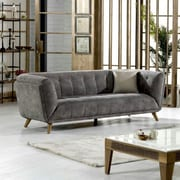 Brayden Studio Danos Nubuck Chesterfield Loveseat; Wheatgrass