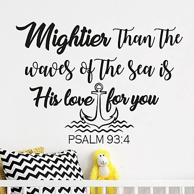 Decal House Nursery 'Mightier than the Waves of the Sea is His Love for You' Wall Decal; Lilac