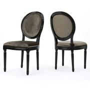Rosdorf Park Jamar Velvet Upholstered Dining Chair (Set of 2); Grey/Black