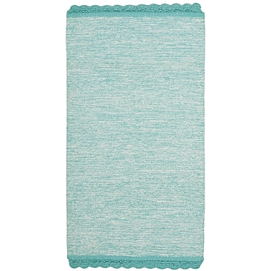 Gracie Oaks Mohnton Hand-Woven Turquoise/Gray Area Rug; 3' x 5'