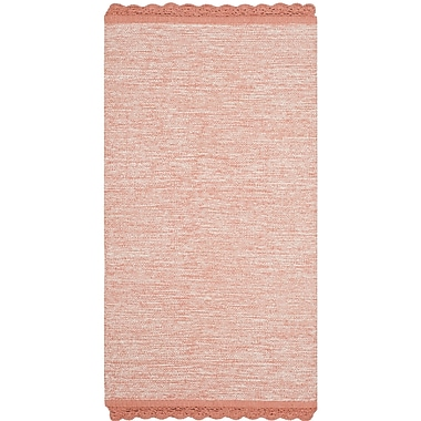 Gracie Oaks Mohnton Hand-Woven Peach/Gray Area Rug; 3' x 5'