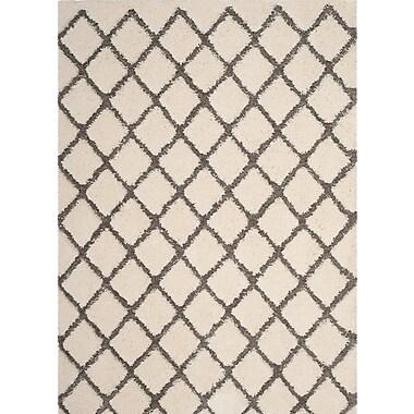 Gracie Oaks Muncy Cream/Gray Area Rug; Square 6'7'' x 6'7''