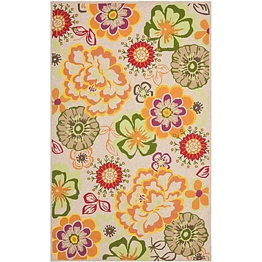 Ebern Designs Hayes Ivory/Orange Outdoor Area Rug; Square 6'