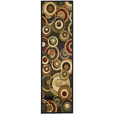Ebern Designs Chani Black Circle Area Rug; Runner 2'3'' x 12'
