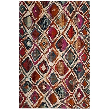 Ebern Designs Damon Cream/Rust Area Rug; 3'3'' x 5'