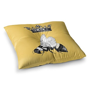 East Urban Home Queen Bee Canary by Catherine Holcombe Floor Pillow; 26'' x 26''