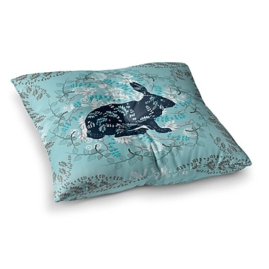 East Urban Home Bunny in the Jungle Animals by Famenxt Floor Pillow; 23'' x 23''