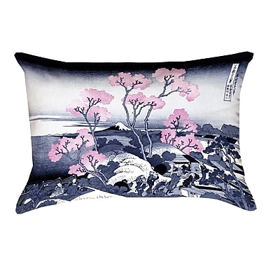 Bloomsbury Market Clair Fuji and Cherry Blossoms Suede Throw pillow; Pink