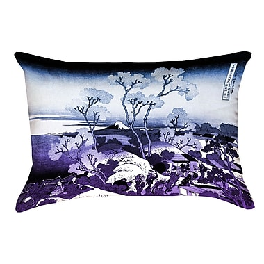 Bloomsbury Market Clair Fuji and Cherry Blossoms Indoor Throw Pillow; Blue/Purple