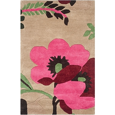 Ebern Designs Cruz Hand-Woven Wool Sand Area Rug; Rectangle 2'6'' x 4'