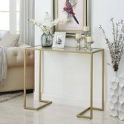 Ebern Designs Dowling Glass Top Console Table; Gold
