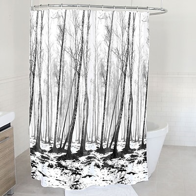 East Urban Home Fog and Snow Forest Polyester Shower Curtain