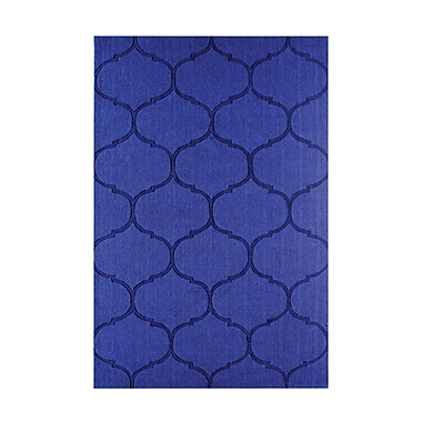 Ebern Designs DeMastro Hand-Woven Blue Wool Area Rug; Square 16''
