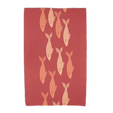 Highland Dunes Ethel Fish Line Beach Towel; Coral