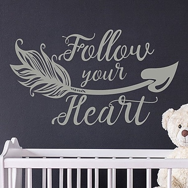 Decal House 'Follow Your Heart Wall' Vinyl Boho Arrow Nursery Quotes Wall Decal; Brown