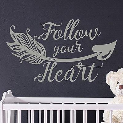 Decal House 'Follow Your Heart Wall' Vinyl Boho Arrow Nursery Quotes Wall Decal; White