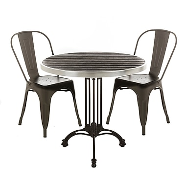 17 Stories Piper Modern Metal Bistro Stacking Patio Dining Chair (Set of 4); Gray