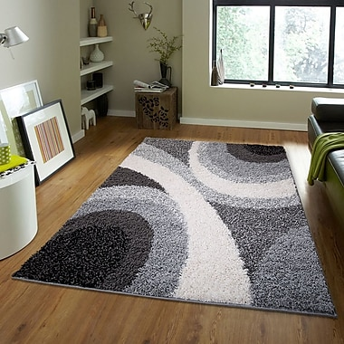 Orren Ellis Brandt Geometric Black/Gray Area Rug; 1'9'' x 3'1''