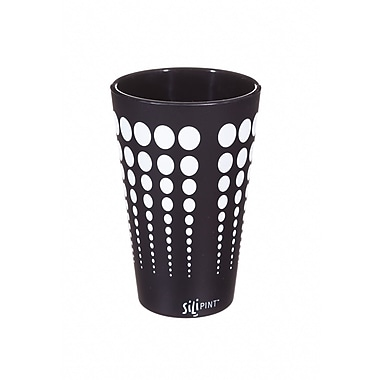 Ebern Designs Cayden Silipint Water/Juice Glass; Black / White