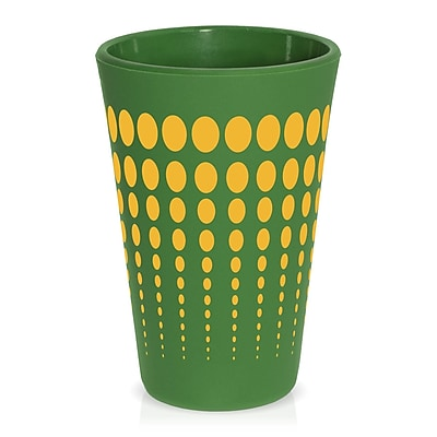 Ebern Designs Cayden Silipint Water/Juice Glass; Dark Green / Yellow