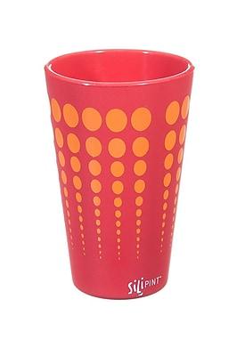 Ebern Designs Cayden Silipint Water/Juice Glass; Burgundy / Orange