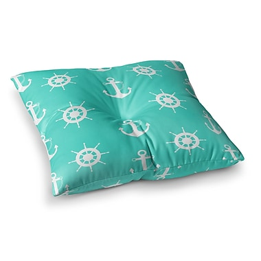 East Urban Home Anchor and Helm Wheel Illustration by Afe Images Floor Pillow; 26'' x 26''