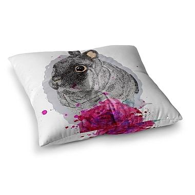 East Urban Home BunnyRose Animals Painting by Cecibd Floor Pillow; 26'' x 26''