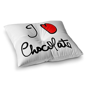 East Urban Home I Love Chocolate Food Typography by Gabriela Fuente Floor Pillow; 26'' x 26''