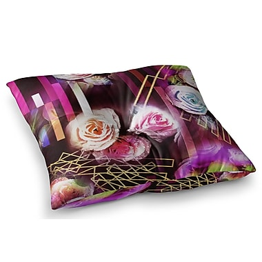 East Urban Home Roses Floral Geometric Stripes by Dawid Roc Floor Pillow; 23'' x 23''