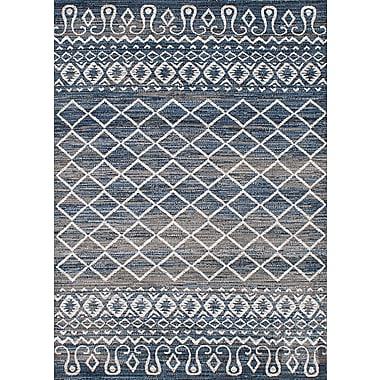 Bungalow Rose Harrelson Gray/Navy Blue Area Rug