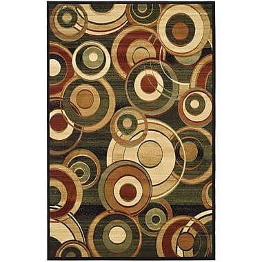 Ebern Designs Chani Black Circle Area Rug; Runner 2'3'' x 22'