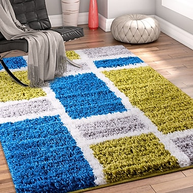 Ebern Designs Dondre Green/Blue Indoor Area Rug; 5' x 7'2''