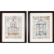 Ophelia & Co. 'Antique Birdhouses' 2 Piece Framed Graphic Art Print Set