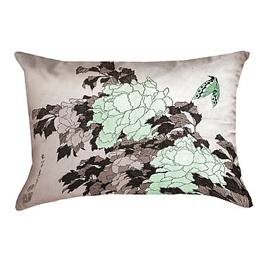 Bloomsbury Market Clair Peonies w/ Butterfly Pillow Cover; Green