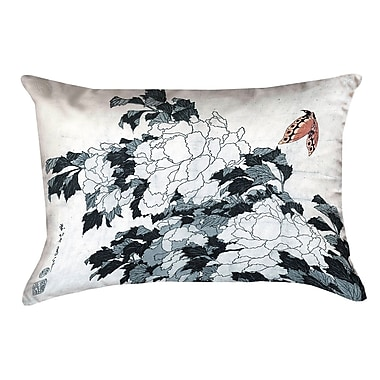 Bloomsbury Market Enya Peonies w/ Butterfly Pillow Cover; Peach/Gray
