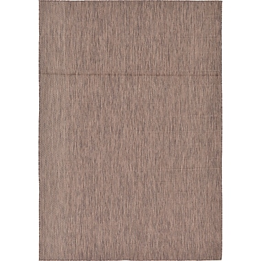 Gracie Oaks Cheriton Brown Indoor/Outdoor Area Rug; 7' x 10'