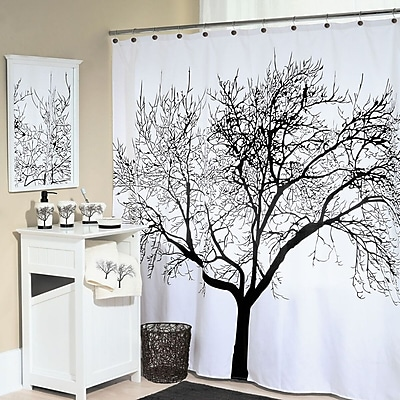 East Urban Home Tree Silhouette Polyester Shower Curtain; Black