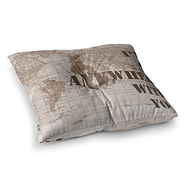 East Urban Home I'll Go Anywhere w/ You Map by Catherine Holcombe Floor Pillow; 26'' x 26''
