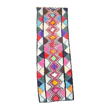 Indigo&Lavender Moroccan Vintage Boujad Hand Knotted Wool Pink/Blue Area Rug
