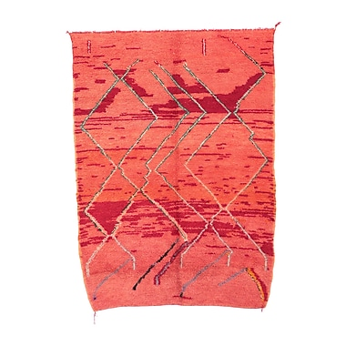 Indigo&Lavender Moroccan Hand Woven Wool Red Area Rug