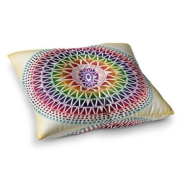 East Urban Home Colorful Vibrant Mandala Rainbow Geometric by Famenxt Floor Pillow; 23'' x 23''