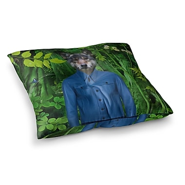 East Urban Home Into the Leaves N3 Wolf by Natt Floor Pillow; 23'' x 23''
