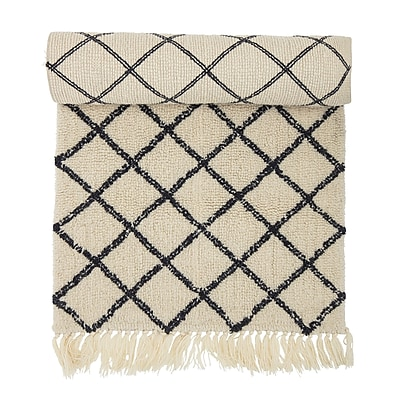 Gracie Oaks Owego Hand-Woven Wool Beige/Black Area Rug